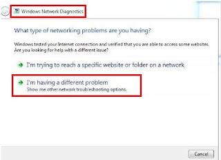 Troubleshoot problems, windows network diagnostics