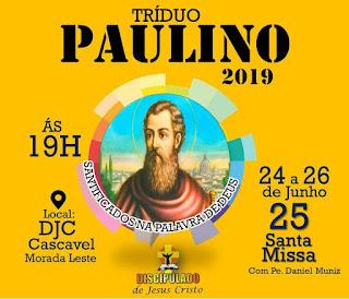 Festejos Paulinos no DJC Cascavel, de 24 a 26 de junho de 2019.
