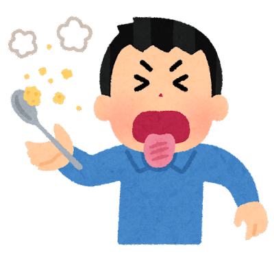 舌を火傷した人のイラスト(男性)