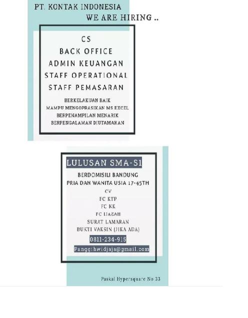 Lowongan Kerja PT. Kontak Indonesia Bandung Agustus 2021