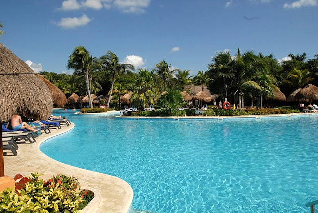 landscape of hotel's swimming pool on the Cancun beaches