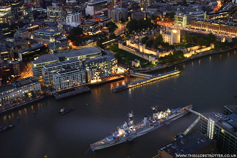 HMS Belfast as seen from the View of the Shard