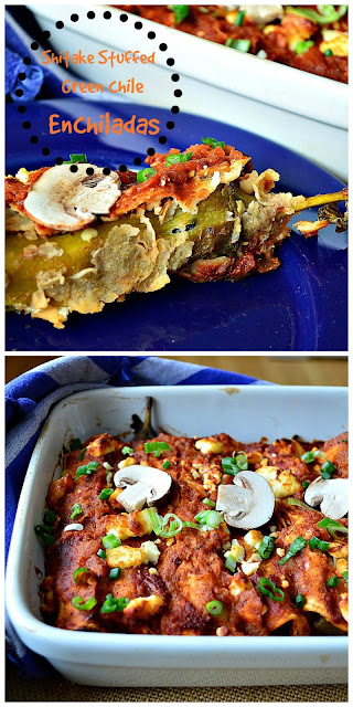 Shitake Stuffed Green Chile Enchiladas are a great twist on Mexican food! Filled with whole green chilies stuffed with mushrooms can't be bad! #Mexicanfood #enchiladas #greenchilies www.thisishowicook.com