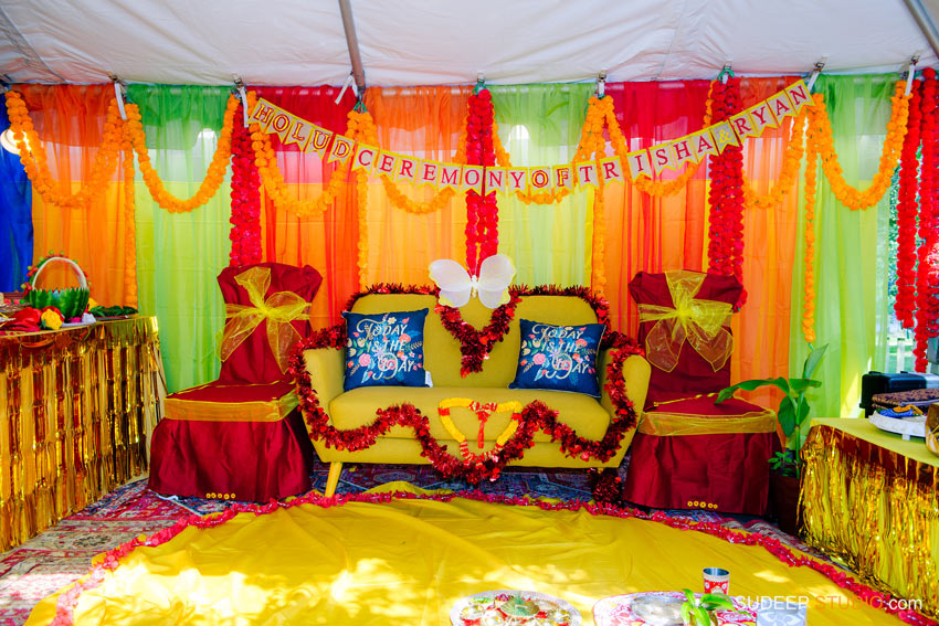 Decoration for Indian Bengali Holud Ceremony for Wedding by SudeepStudio.com Michigan Ann Arbor South Asian Indian Wedding Photographer