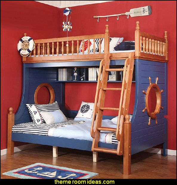 bunk bed ash pirates  nautical bedroom ideas - decorating nautical style bedrooms - nautical decor - sailing ship theme - coastal seaside beach theme - boat beds - beach house decorating - Travelers and seafarers - nautical bedding - nautical bedroom furniture