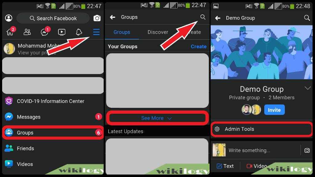 How to delete a Facebook group from Android app