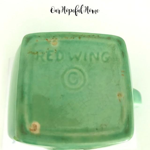 Red Wing pottery creamer maker's mark