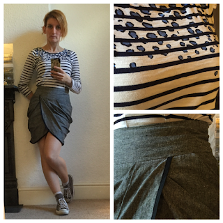 Boden Top, Warehouse skirt, Converse trainers
