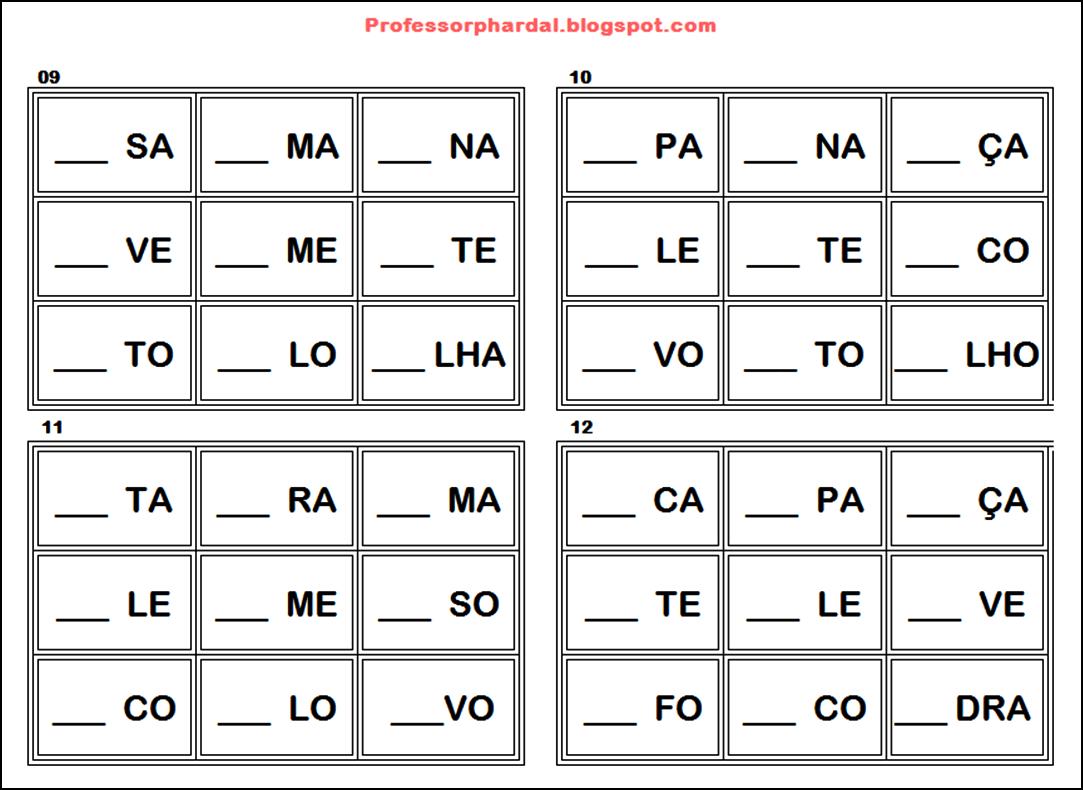 A Arte De Aprender Brincando Bingo Das Silabas Reciclado
