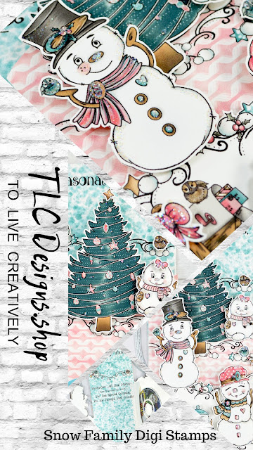 """Collage Ad of the Slimline holiday greeting card and gift card created with trending colored custom designed paper pack that coordinated perfectly with the Snow Family Fun digital stamp set available at TLCDesigns.shop the paper crafting supply store with the right price """"To Live Creatively"""""""