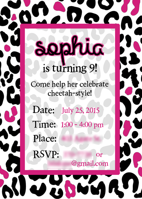 Super simple cheetah birthday party ideas overstuffed i have a blank template available for free download here blank cheetah birthday invitation you can print them out and handwrite your birthday party filmwisefo
