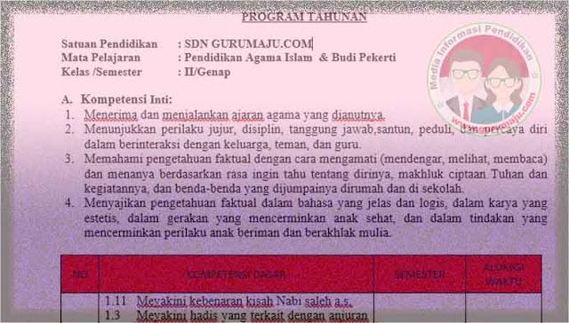 Download Prota PAI Kelas 2 Semester 2 SD K13 Revisi 2021