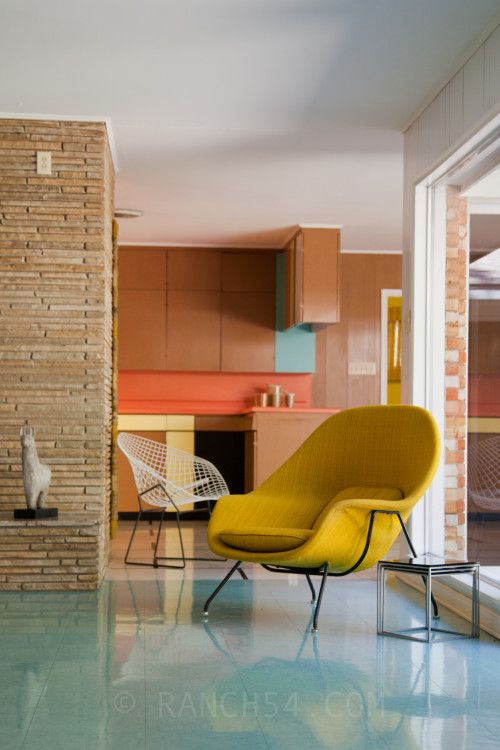 Aqua and yellow living room
