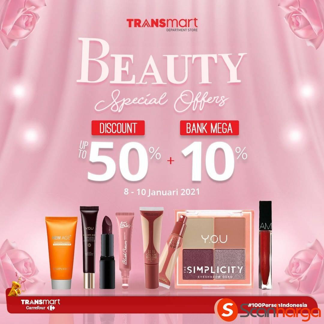 Carrefour Transmart Beauty Special Offers! Diskon 50% + 10% dengan Bank Mega