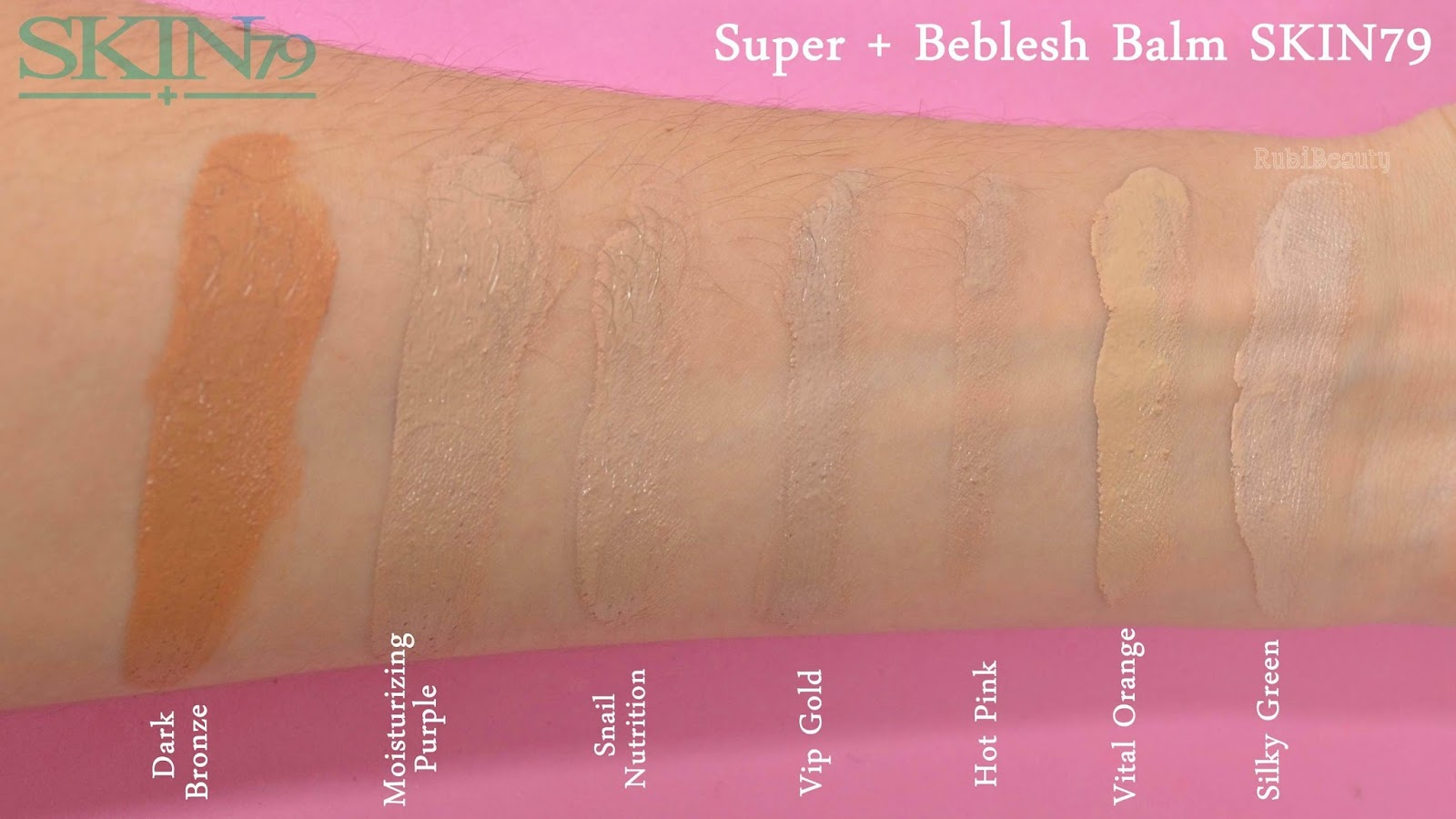 rubibeauty review opinion personal Super + Beblesh Balm BB Cream Skin 79 swatches Hot pink orange vip gold snail silky purple