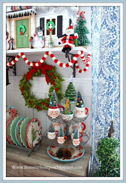 Christmas -Farmhouse -Cottage- Breakfast -Nook-Hearth & Hand Doll -House-Vintage-Santa-Mugs- From My Front Porch To Yours