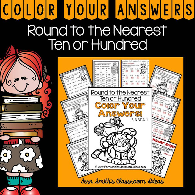 Fern Smith's Classroom Ideas Resources for Teaching Rounding to the Nearest Ten or Hundred at TpT, TeacherspayTeachers.