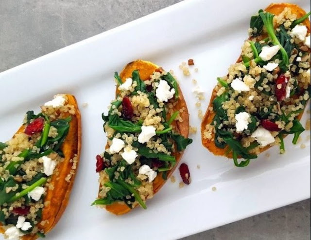 Roasted Sweet Potatoes Stuffed with Quinoa and Spinach #vegetarian #healthy