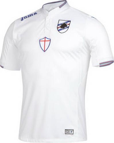 El Nueva Joma camiseta UC Sampdoria lejos 2015-2016 es blanco y viene sólo  con el escudo de armas de Génova en el pecho. 73cc55d2b613e