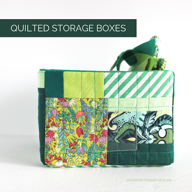 Improv quilted storage boxes with green fabric scraps | Shannon Fraser Designs