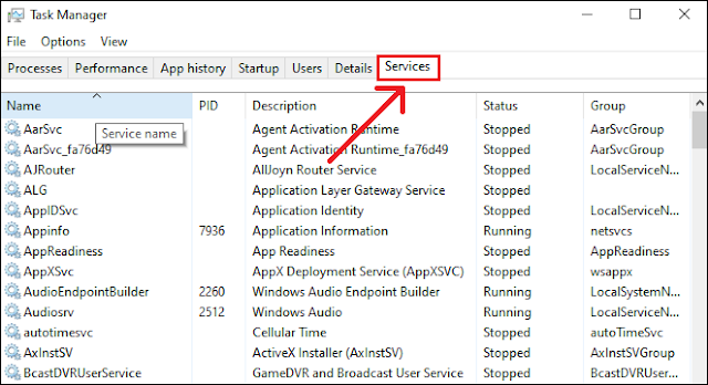 Services in Task Manager