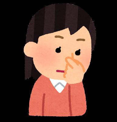 鼻血の止血のイラスト(女性)
