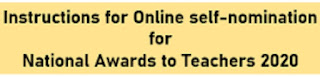 National Awards to Teachers 2020 Instruction Manual for online self nomination