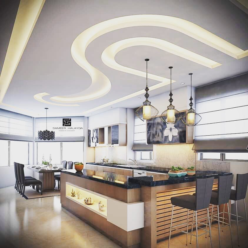 Gorgeous kitchens designs with gypsum false ceiling
