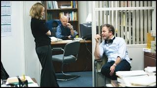 Rachel McAdams, Michel Keaton y Tom McCarthy en el set de Spotlight (2015)