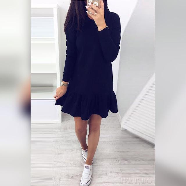 Μακρυμάνικο κοντό μαύρο φόρεμα MATILDA