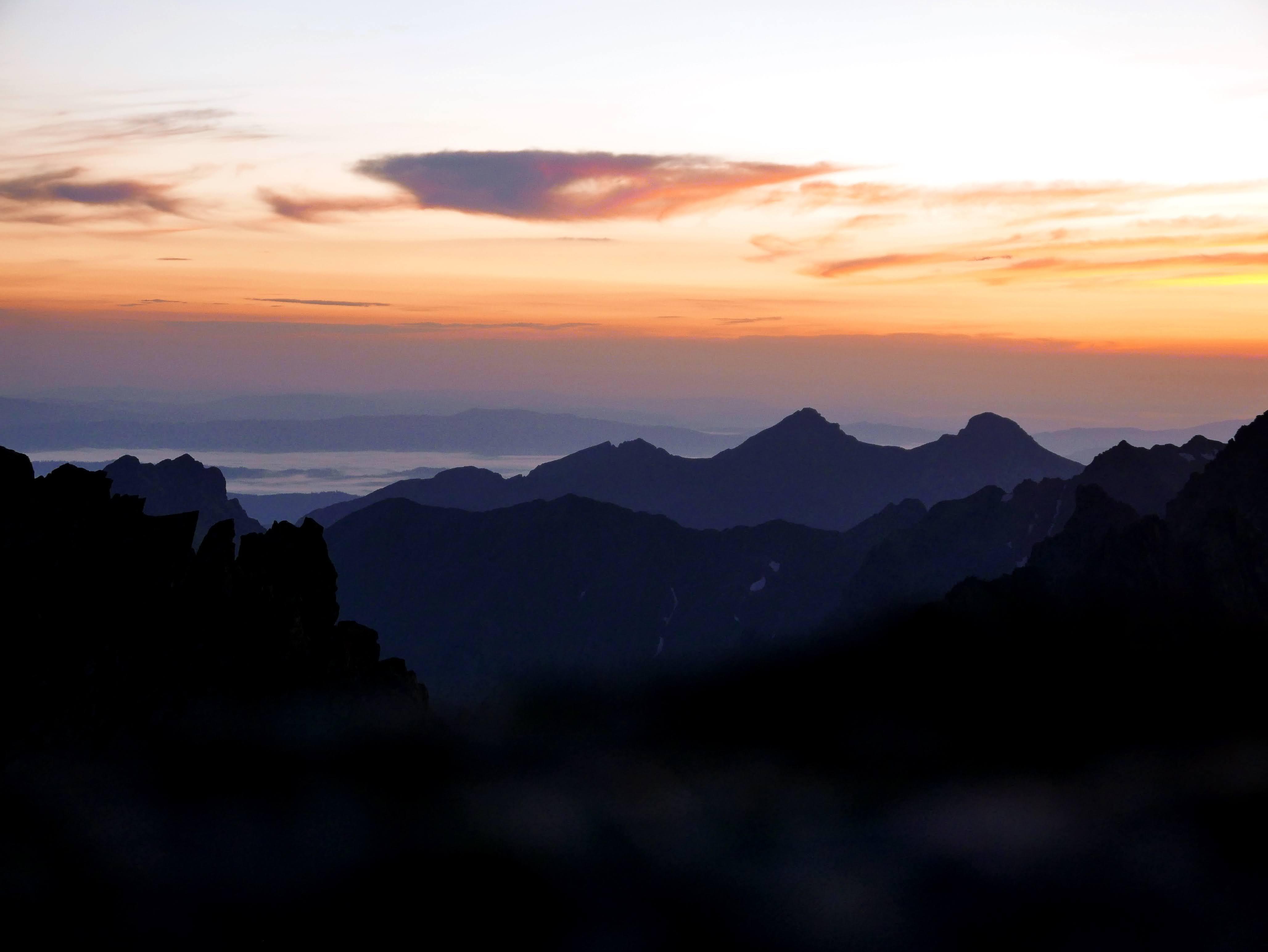 Słowacja, Tatry: Kończysta - Končistá 2537 m n.p.m. wschód słońca