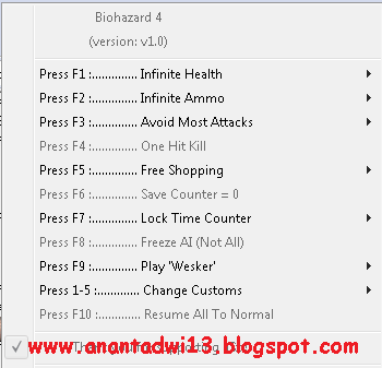Cheat Resident Evil 4 (Trainer +10) For PC   ANANTADWI13