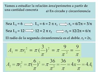 Relación longitud circunferencia y área del círculo. Y área y pèrímetro