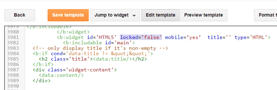 blogger widget id on template