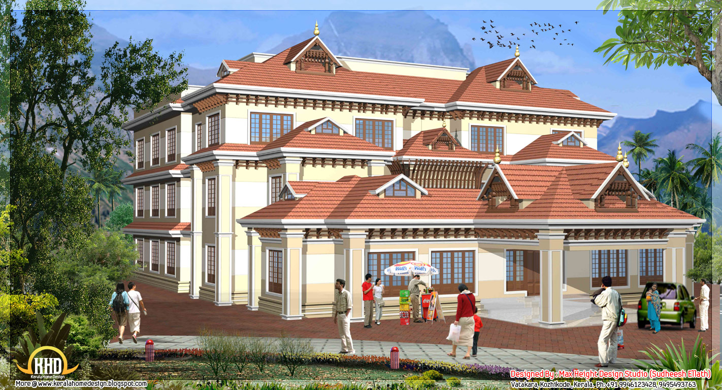 5 kerala style house 3d models kerala home design and for Kerala house design plans