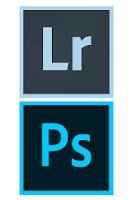 Adobe's Photoshop and Lightroom logos stacked on top of each other