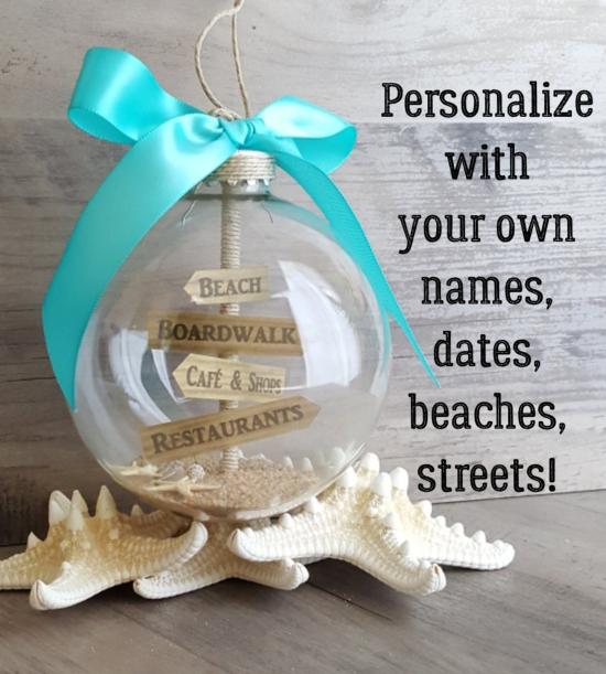 Beach Glass Ornament Personalized