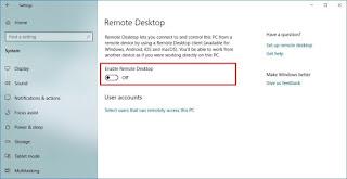 Aktifkan desktop jarak jauh pada Windows 10