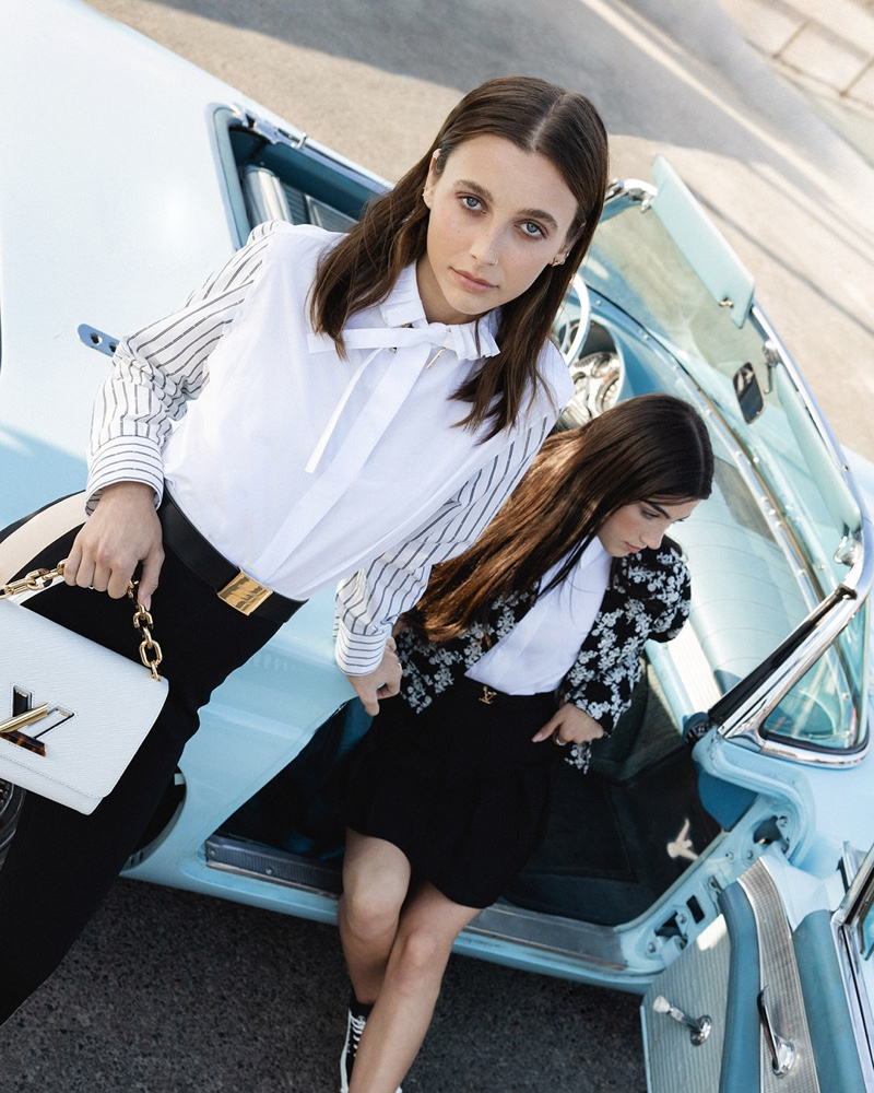 Posing in a convertible car, Emma Chamberlain and Charli D'Amelio pose for Louis Vuitton.
