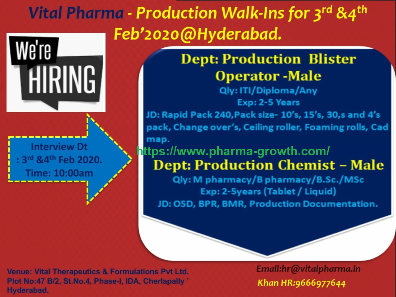 Vital Pharma - Walk-In Interview for Production Chemist & Operators - B.Pharm / M.Pharm / B.Sc / M.Sc / ITI / Diploma Candidates on 3rd & 4th Feb' 2020