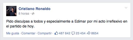 Mensaje de Cristiano Ronaldo en facebook