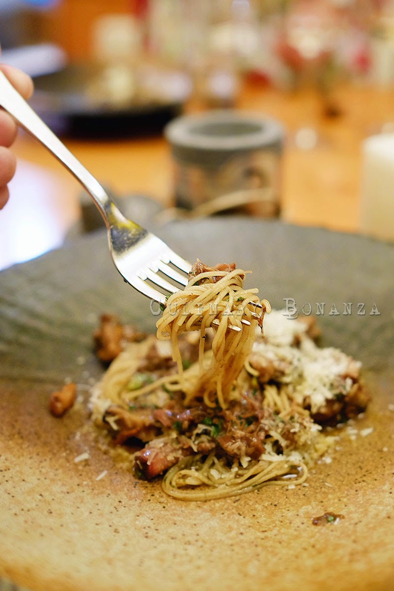 Oxtail Angel Hair pasta with mushroom, leek and parmesan