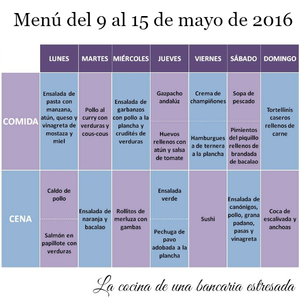 Menú semanal del 9 al 15 de mayo de 2016