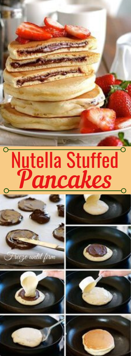 Nutella Stuffed Pancakes #nutella #desserts #pancakes #pumpkin #cakes