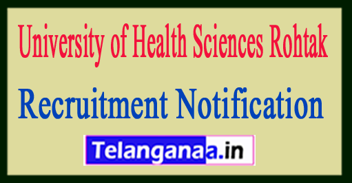 University of Health Sciences, Rohtak UHSR Recruitment Notification 2017