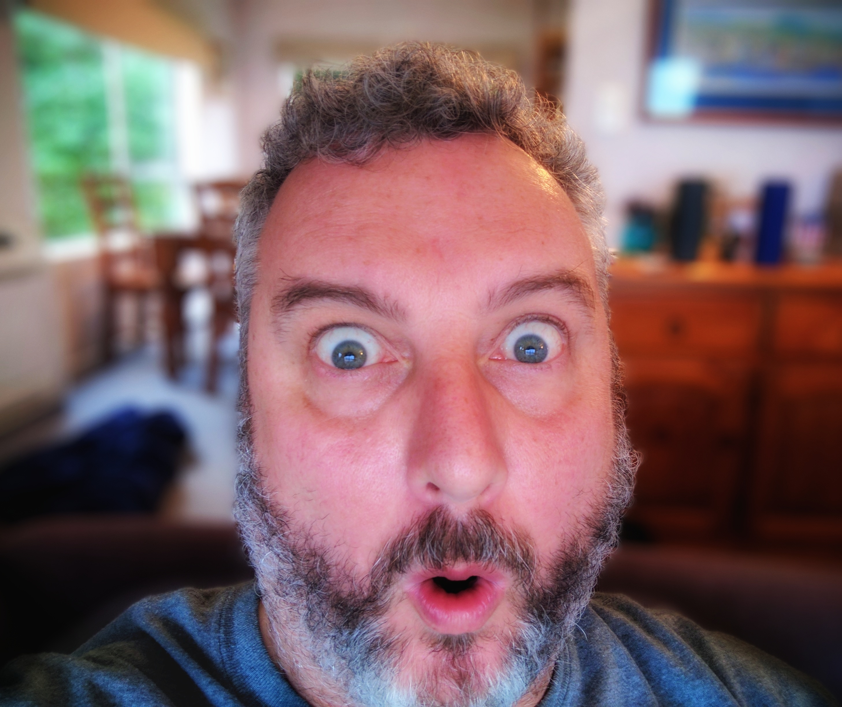 Bearded man pulling a shocked face