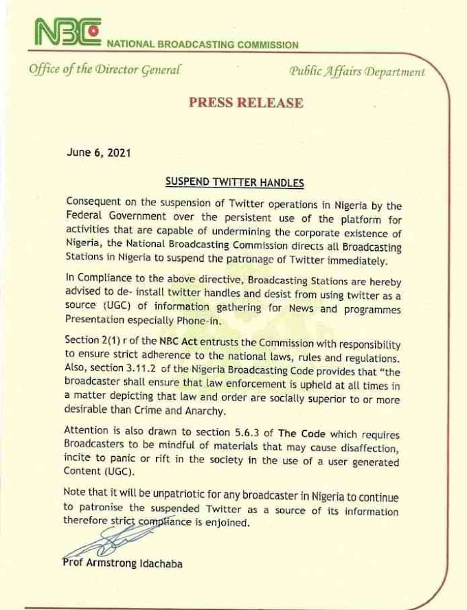 #TwitterBan: FG directs all broadcast stations to comply and disengage from Twitter.