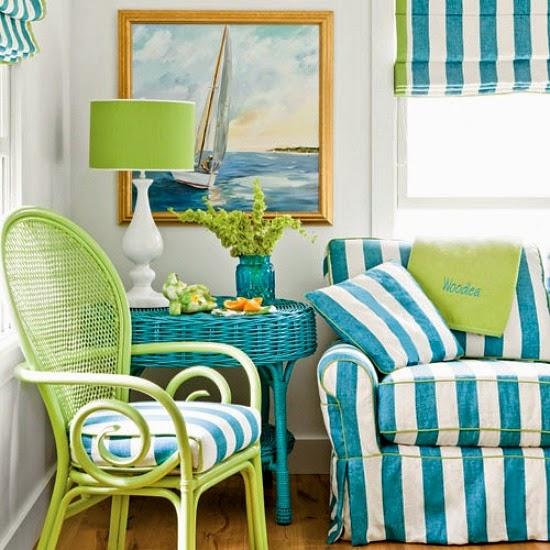 Blue Striped Cabana Roman Shades