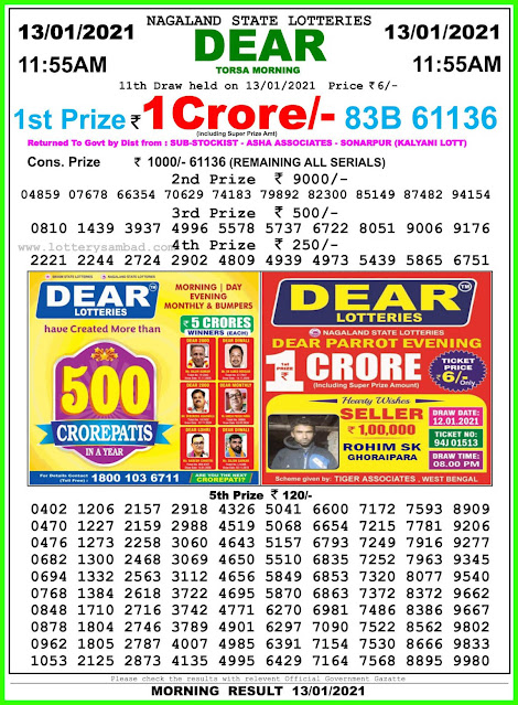 Dear labh laxmi lottery  13.1.2021 Result  11:55 AM