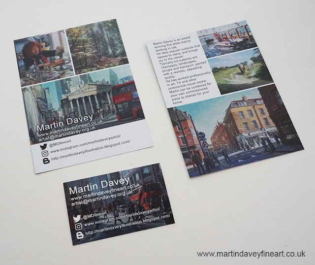 creating business card for artist M P Davey